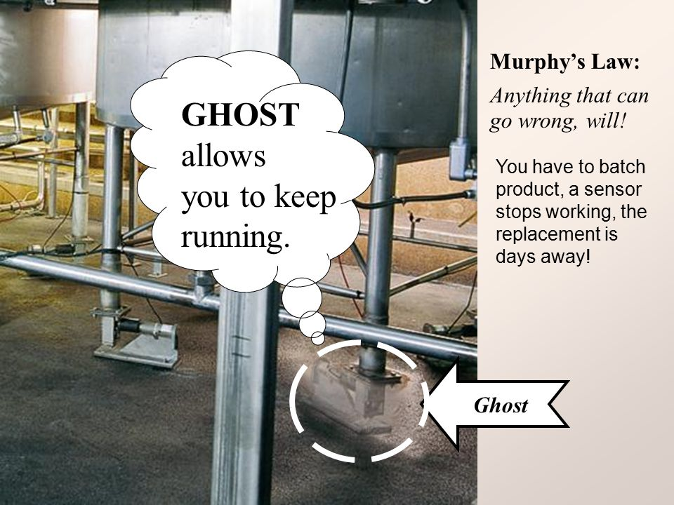Ghost Murphy's Law: Anything that can go wrong, will! You have to batch product, a sensor stops working, the replacement is days away! GHOST allows yo