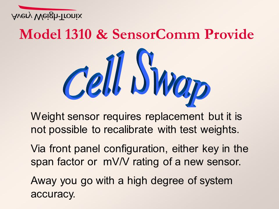 Weight sensor requires replacement but it is not possible to recalibrate with test weights. Via front panel configuration, either key in the span fact