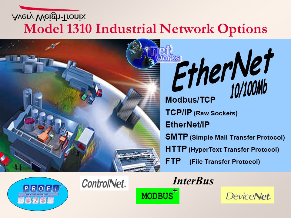 Model 1310 Industrial Network Options InterBus+ Modbus/TCP TCP/IP (Raw Sockets) FTP (File Transfer Protocol) SMTP (Simple Mail Transfer Protocol) HTTP (HyperText Transfer Protocol) EtherNet/IP