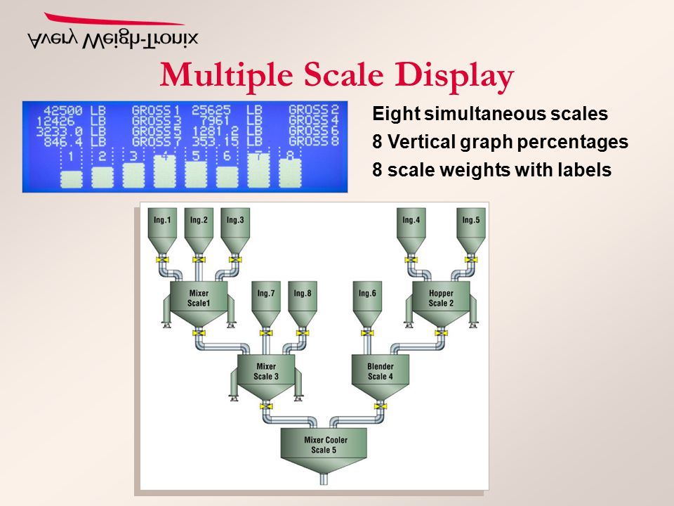 Multiple Scale Display Eight simultaneous scales 8 Vertical graph percentages 8 scale weights with labels