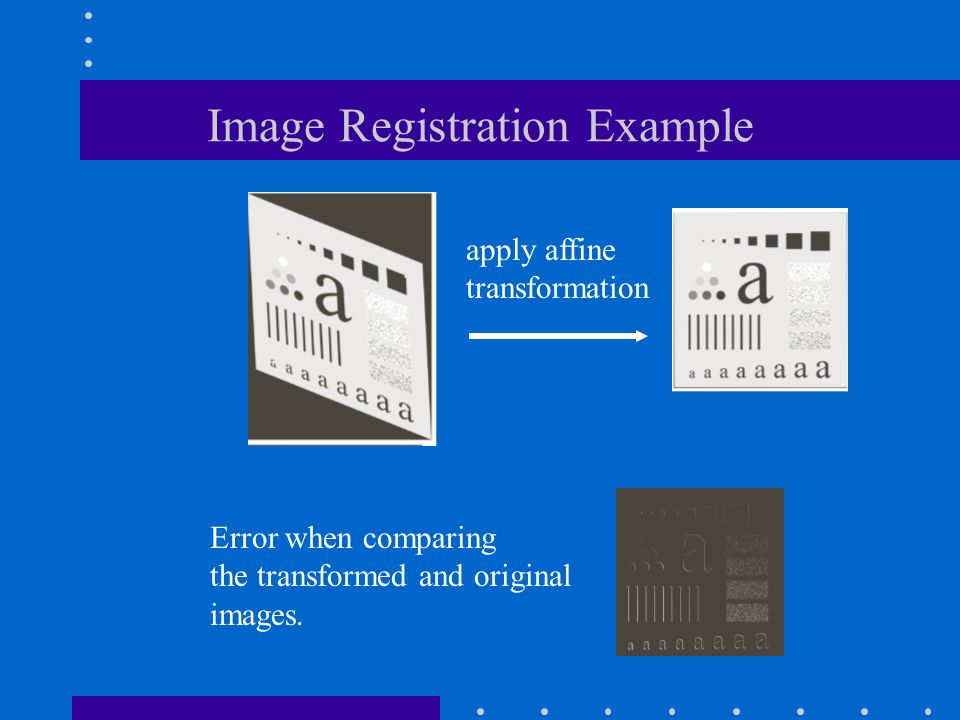 Image Registration Example apply affine transformation Error when comparing the transformed and original images.