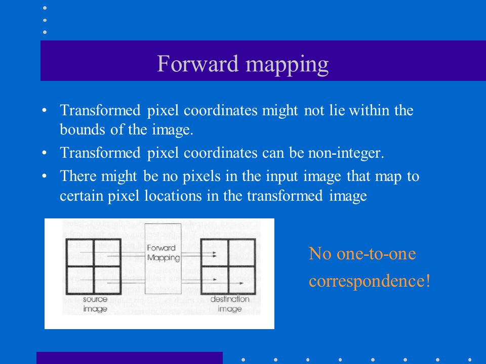 Forward mapping (cont') An example of holes due to image rotation, implemented using the forward transformation.