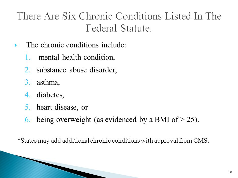  The chronic conditions include: 1. mental health condition, 2.substance abuse disorder, 3.asthma, 4.diabetes, 5.heart disease, or 6.being overweight