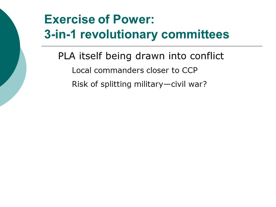 Exercise of Power: 3-in-1 revolutionary committees PLA itself being drawn into conflict Local commanders closer to CCP Risk of splitting military—civi