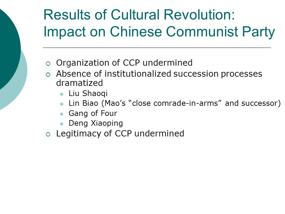 Results of Cultural Revolution: Impact on Chinese Communist Party  Organization of CCP undermined  Absence of institutionalized succession processes