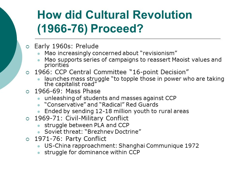 Results of Cultural Revolution: Impact on Chinese Communist Party  Organization of CCP undermined  Absence of institutionalized succession processes dramatized Liu Shaoqi Lin Biao (Mao's close comrade-in-arms and successor) Gang of Four Deng Xiaoping  Legitimacy of CCP undermined