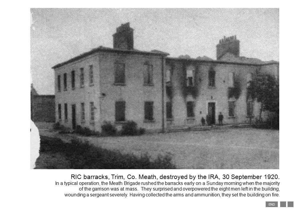 END RIC barracks, Trim, Co. Meath, destroyed by the IRA, 30 September 1920.