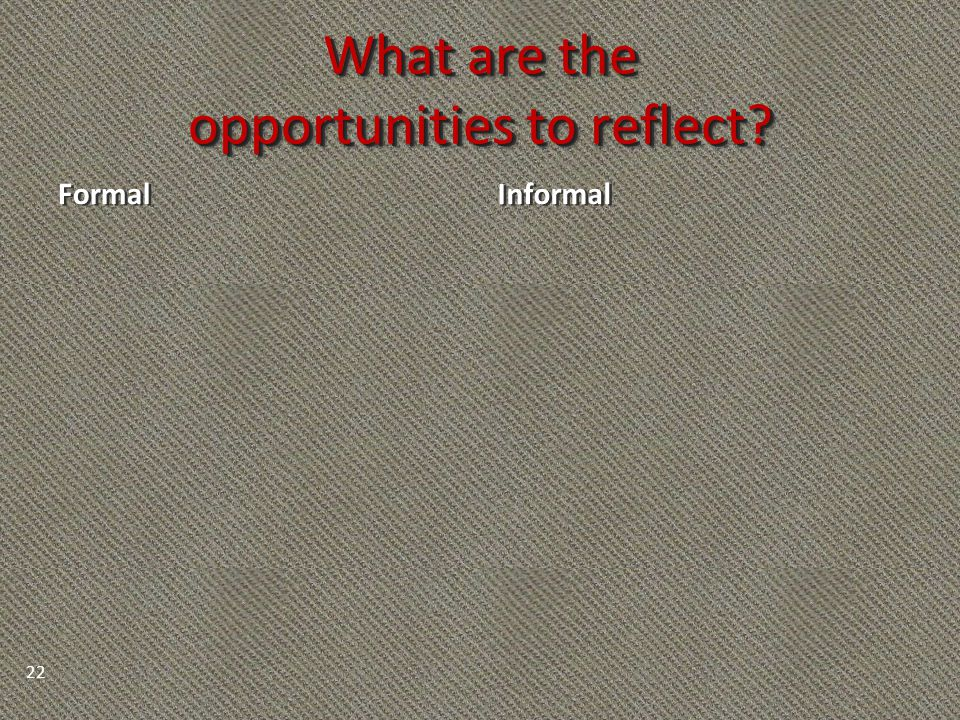 What are the opportunities to reflect? Formal Informal 22