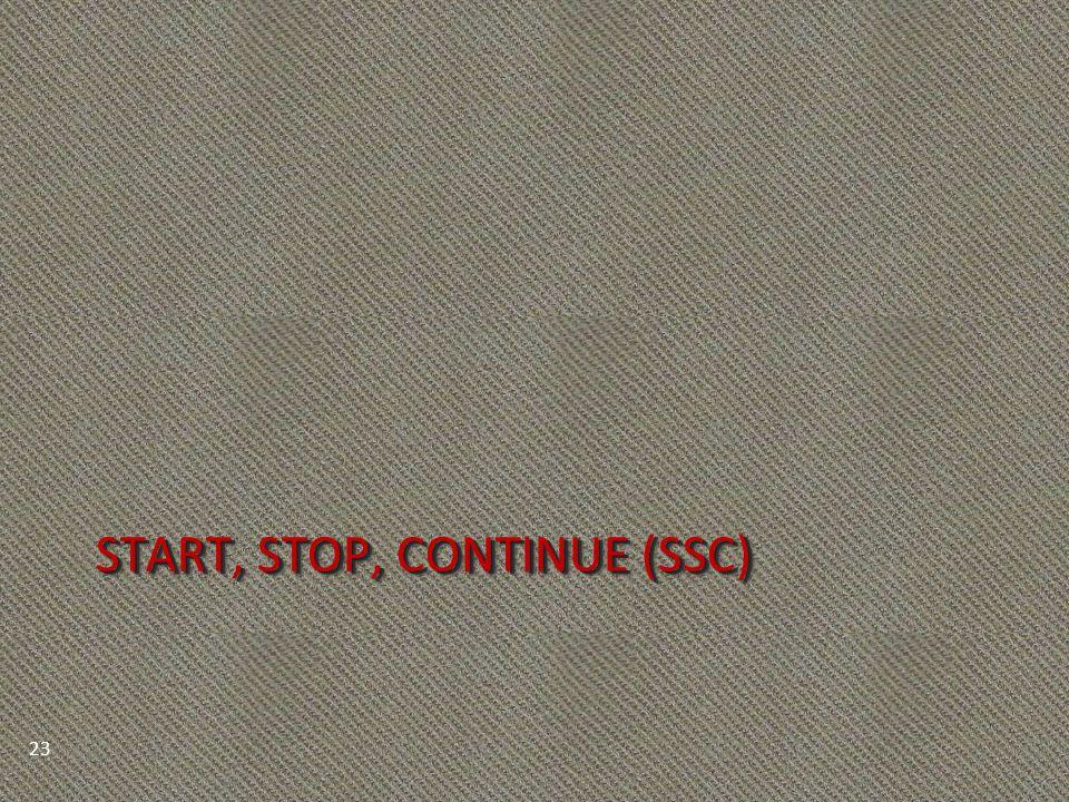 START, STOP, CONTINUE (SSC) 23