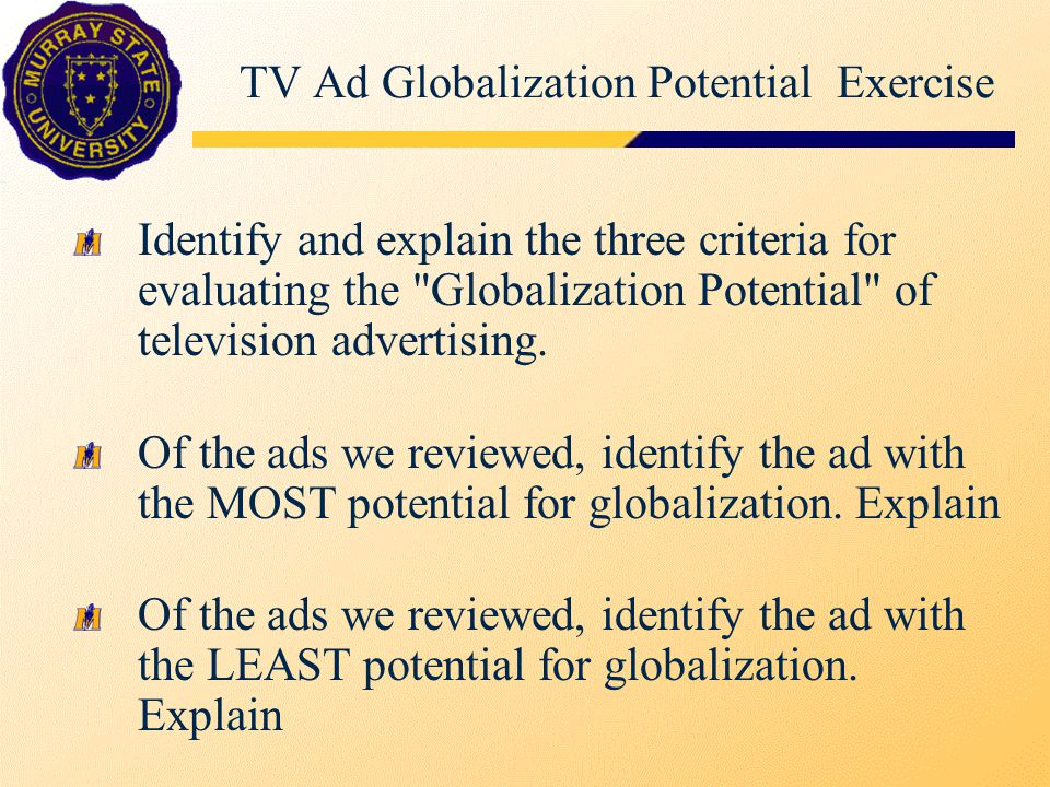 TV Ad Globalization Potential Exercise Identify and explain the three criteria for evaluating the Globalization Potential of television advertising.