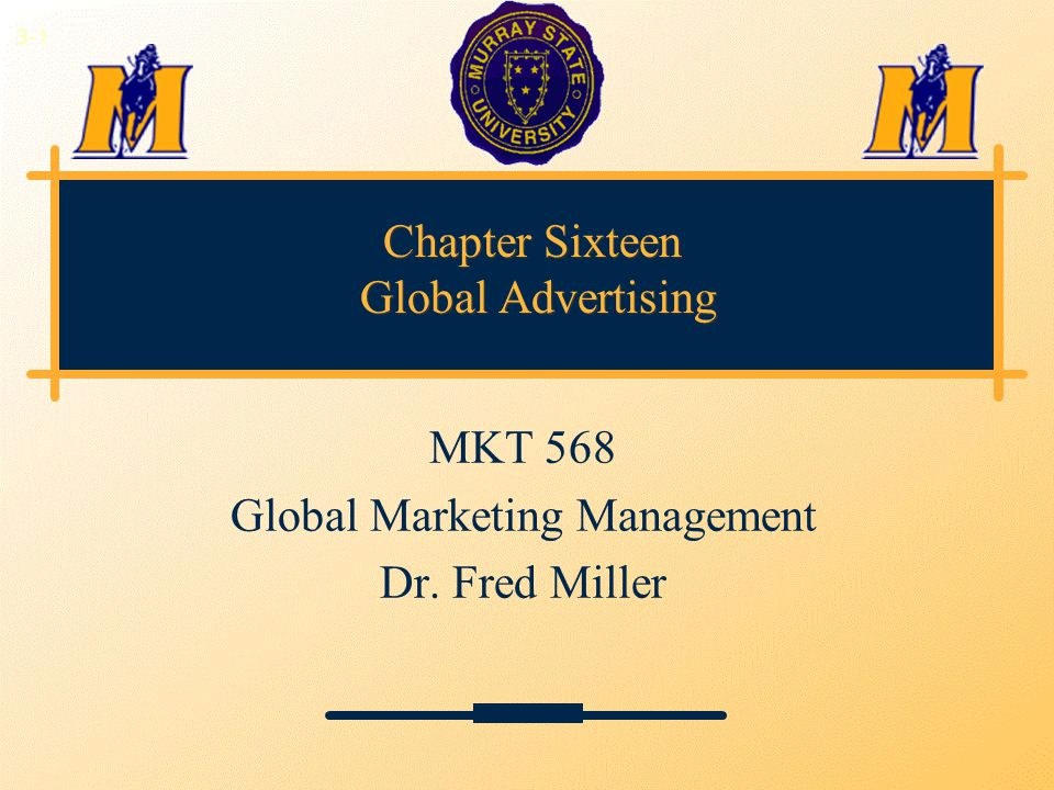 Chapter Sixteen Global Advertising MKT 568 Global Marketing Management Dr. Fred Miller 3-1