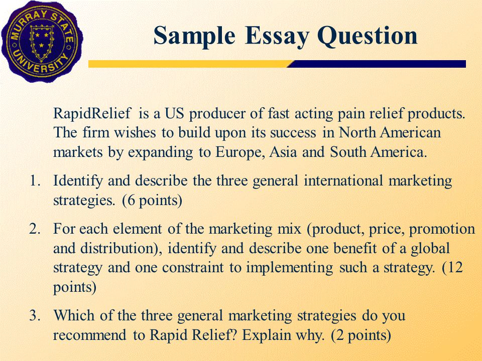 Sample Essay Question RapidRelief is a US producer of fast acting pain relief products.
