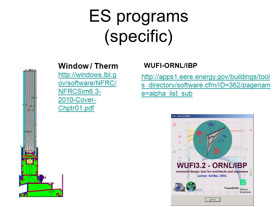 ES programs (specific) Window / Therm http://windows.lbl.g ov/software/NFRC/ NFRCSim6.3- 2010-Cover- Chptr01.pdf http://apps1.eere.energy.gov/buildings/tool s_directory/software.cfm/ID=362/pagenam e=alpha_list_sub WUFI-ORNL/IBP