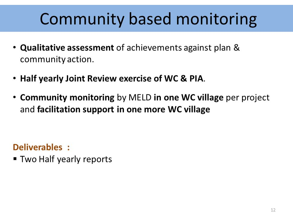 Qualitative assessment of achievements against plan & community action. Half yearly Joint Review exercise of WC & PIA. Community monitoring by MELD in