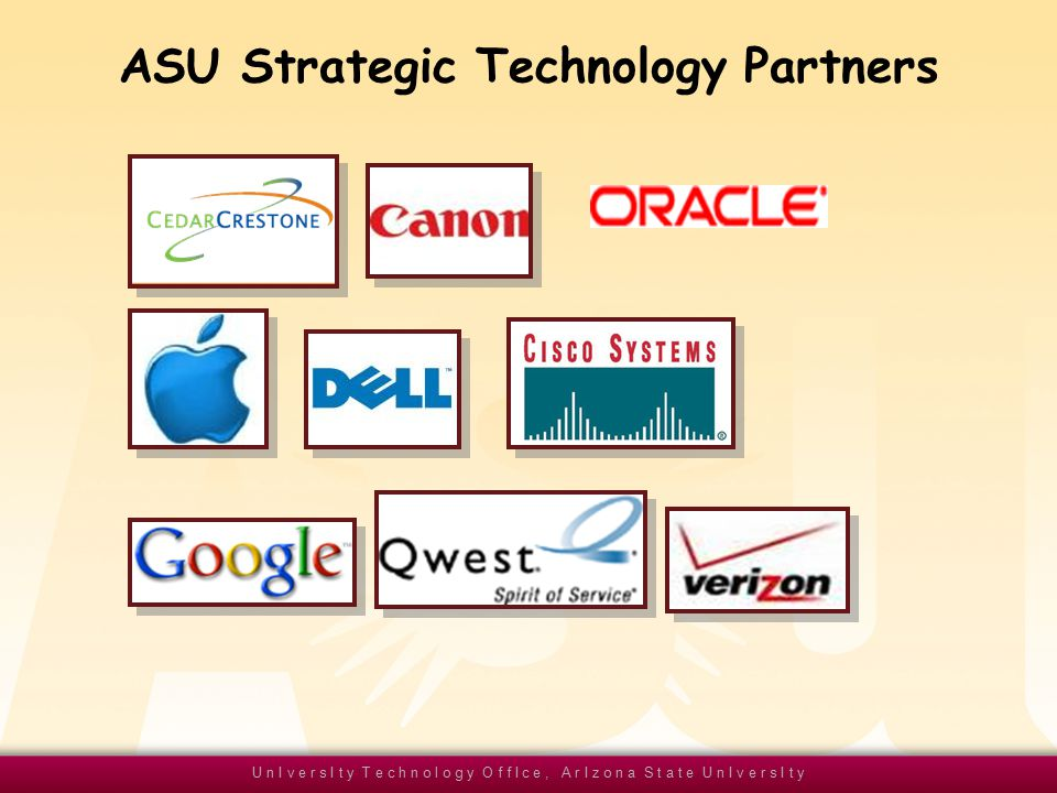 U n I v e r s I t y T e c h n o l o g y O f f I c e, A r I z o n a S t a t e U n I v e r s I t y ASU Strategic Technology Partners