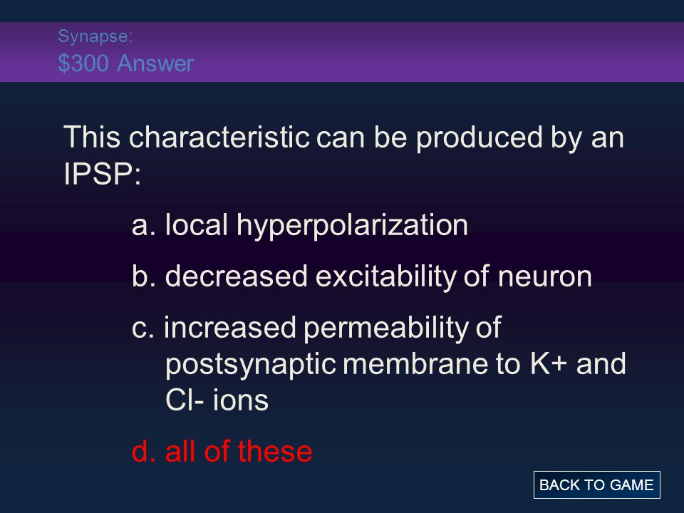 Synapse: $300 Answer This characteristic can be produced by an IPSP: a.