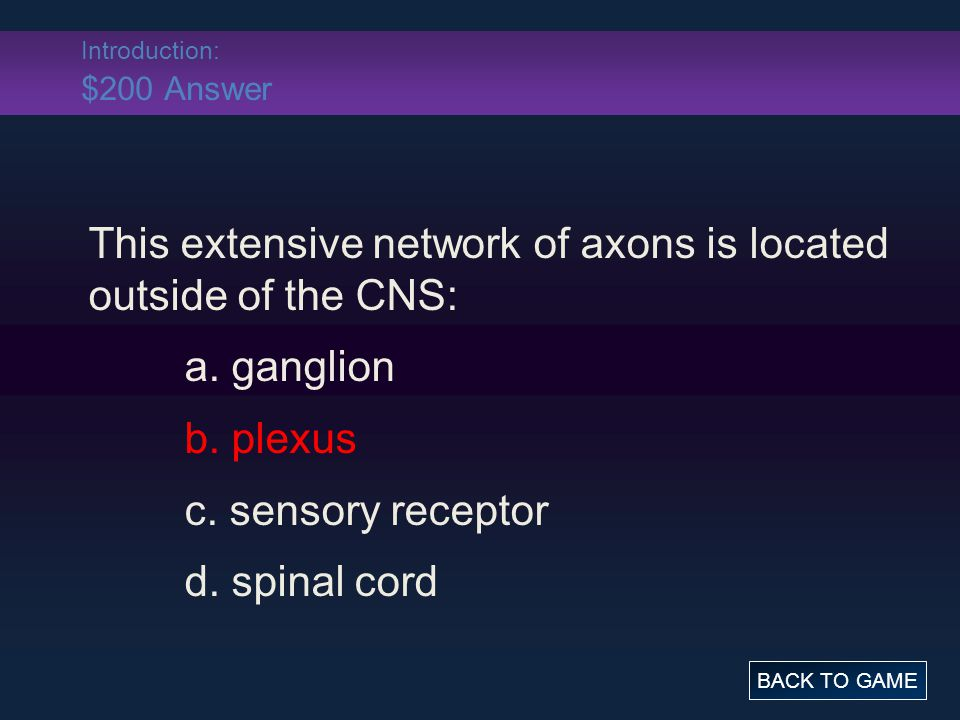 Introduction: $200 Answer This extensive network of axons is located outside of the CNS: a.