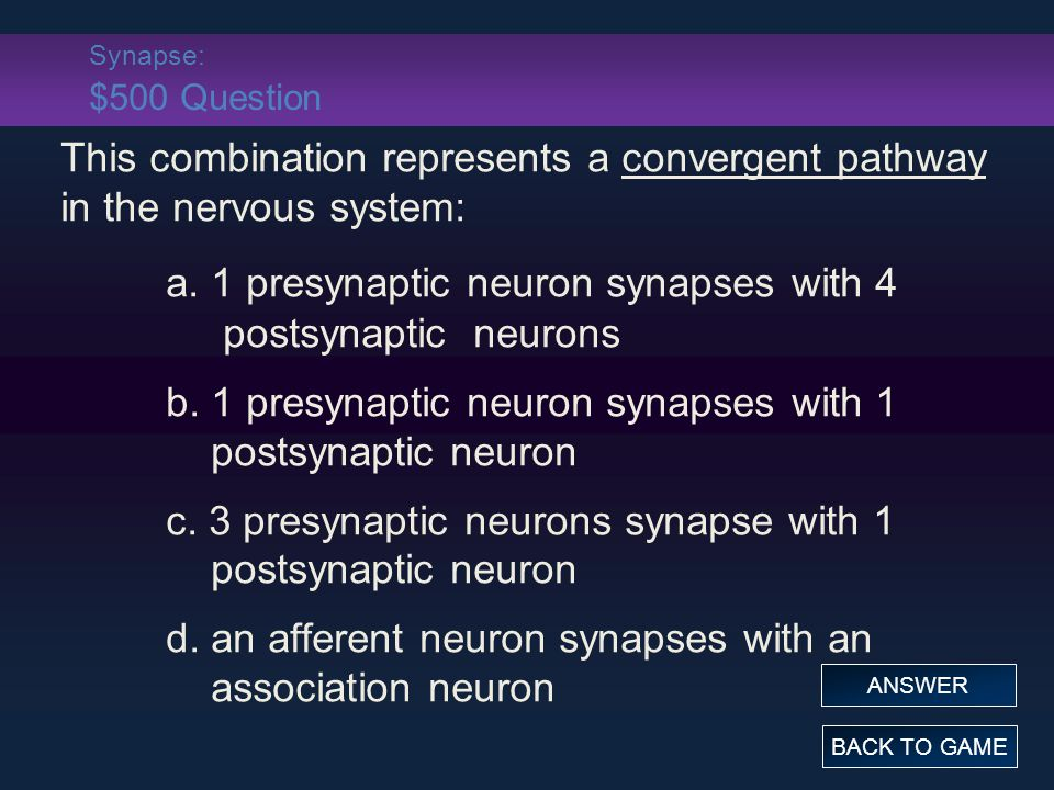 Synapse: $500 Question This combination represents a convergent pathway in the nervous system: a.