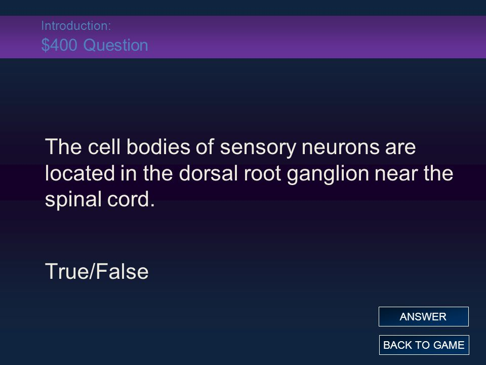 Introduction: $400 Answer The cell bodies of sensory neurons are located in the dorsal root ganglion near the spinal cord.