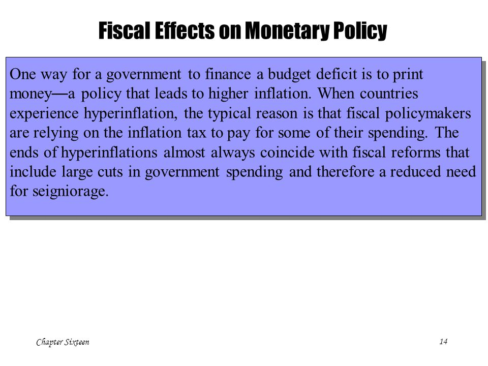Chapter Sixteen14 Fiscal Effects on Monetary Policy One way for a government to finance a budget deficit is to print money — a policy that leads to higher inflation.