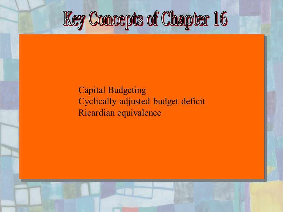 Chapter Sixteen15 Capital Budgeting Cyclically adjusted budget deficit Ricardian equivalence Capital Budgeting Cyclically adjusted budget deficit Ricardian equivalence