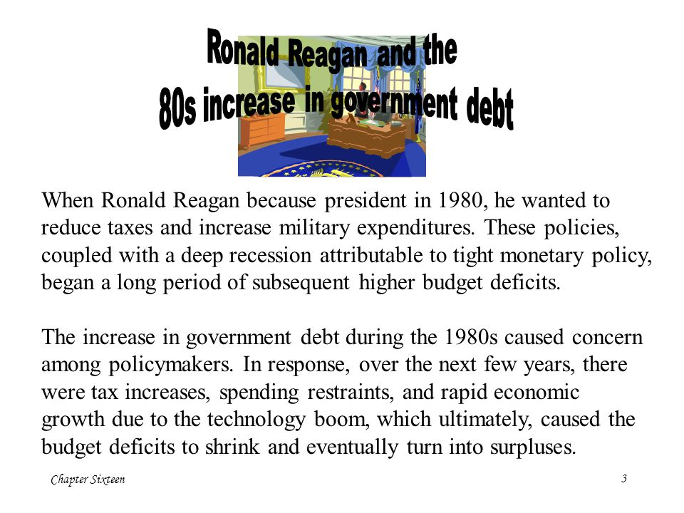 Chapter Sixteen3 When Ronald Reagan because president in 1980, he wanted to reduce taxes and increase military expenditures.