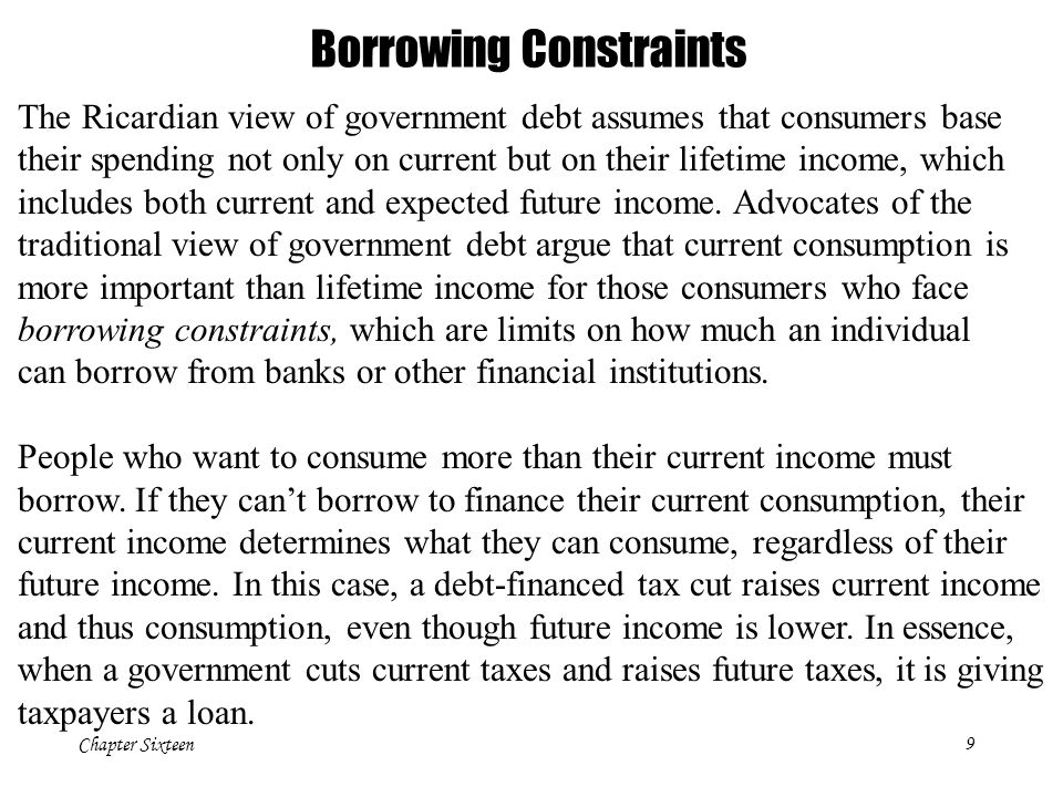 Chapter Sixteen9 Borrowing Constraints The Ricardian view of government debt assumes that consumers base their spending not only on current but on their lifetime income, which includes both current and expected future income.