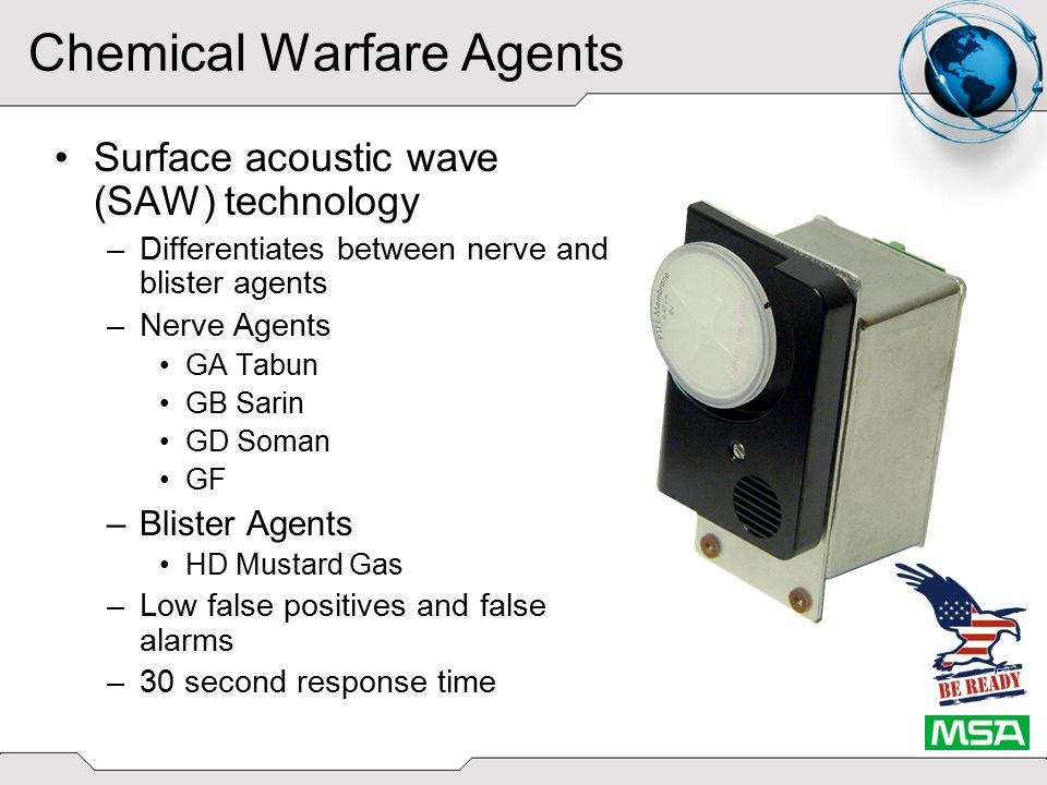 Chemical Warfare Agents SAW provides a multi-pattern sensor, or fingerprint , that is unique to a class of agent