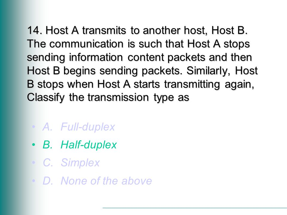 14. Host A transmits to another host, Host B.