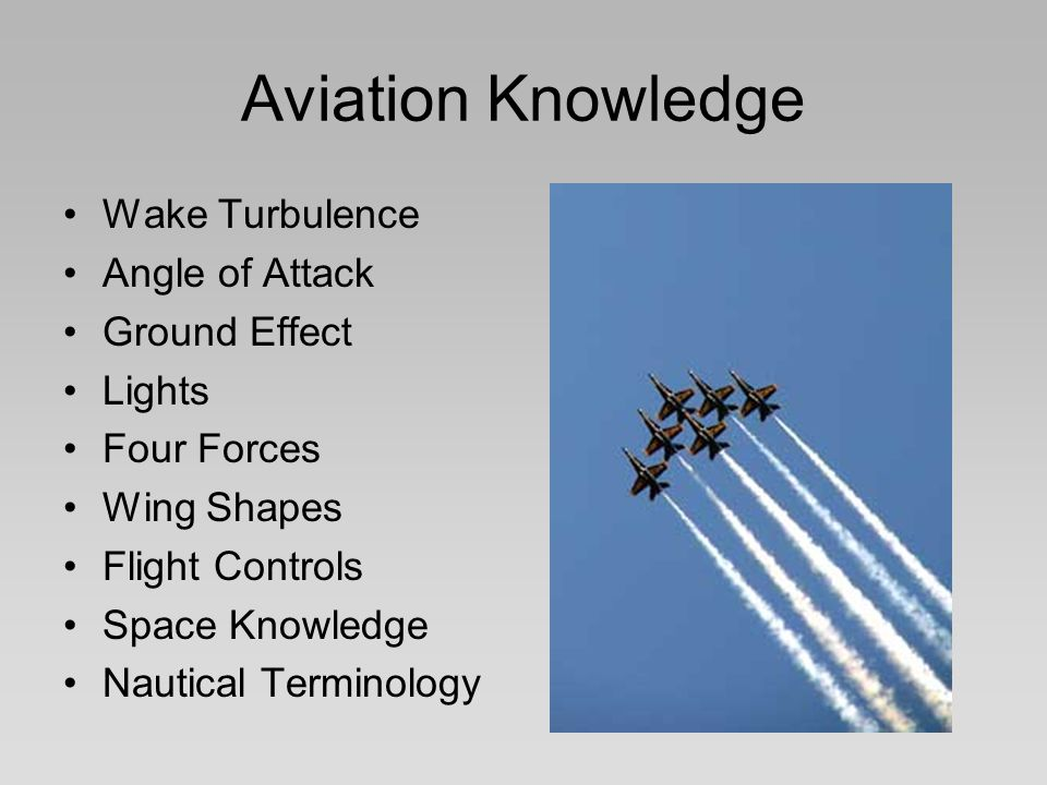 Aviation Knowledge Wake Turbulence Angle of Attack Ground Effect Lights Four Forces Wing Shapes Flight Controls Space Knowledge Nautical Terminology
