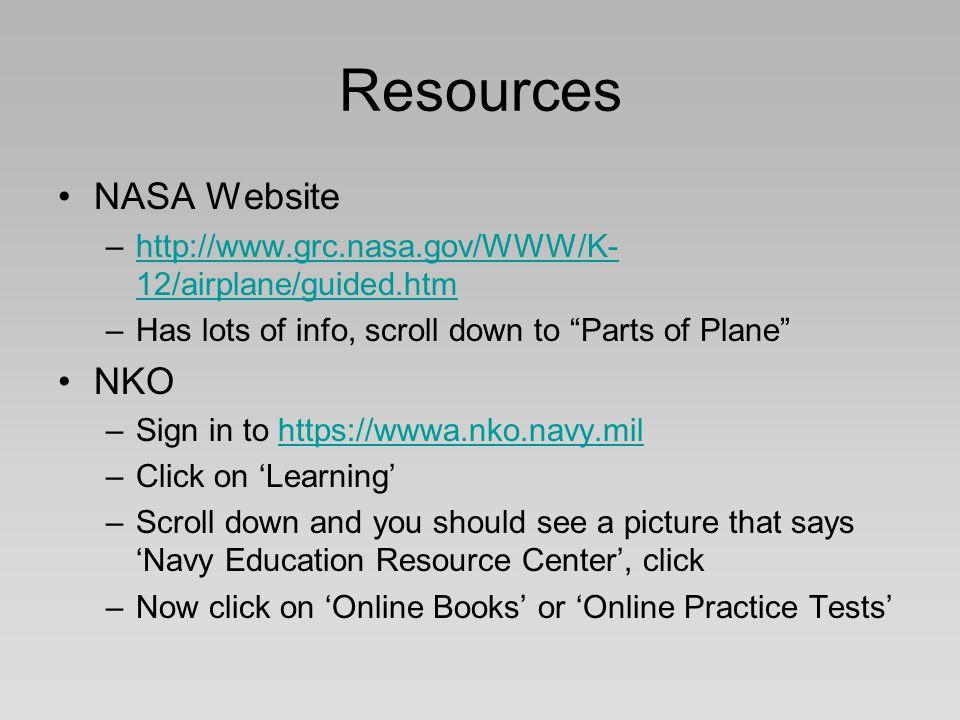 Resources NASA Website –http://www.grc.nasa.gov/WWW/K- 12/airplane/guided.htmhttp://www.grc.nasa.gov/WWW/K- 12/airplane/guided.htm –Has lots of info,