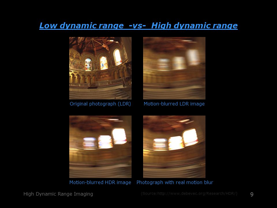 High Dynamic Range Imaging 9 Low dynamic range -vs- High dynamic range Original photograph (LDR)Motion-blurred LDR image Motion-blurred HDR imagePhotograph with real motion blur (Source:http://www.debevec.org/Research/HDR/)