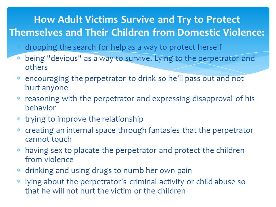Cycle of Violence Tension phase: often emotional abuse and verbal attacks; victim endures abuse hoping things will change and/or because of misperceived feelings of guilt/blame.