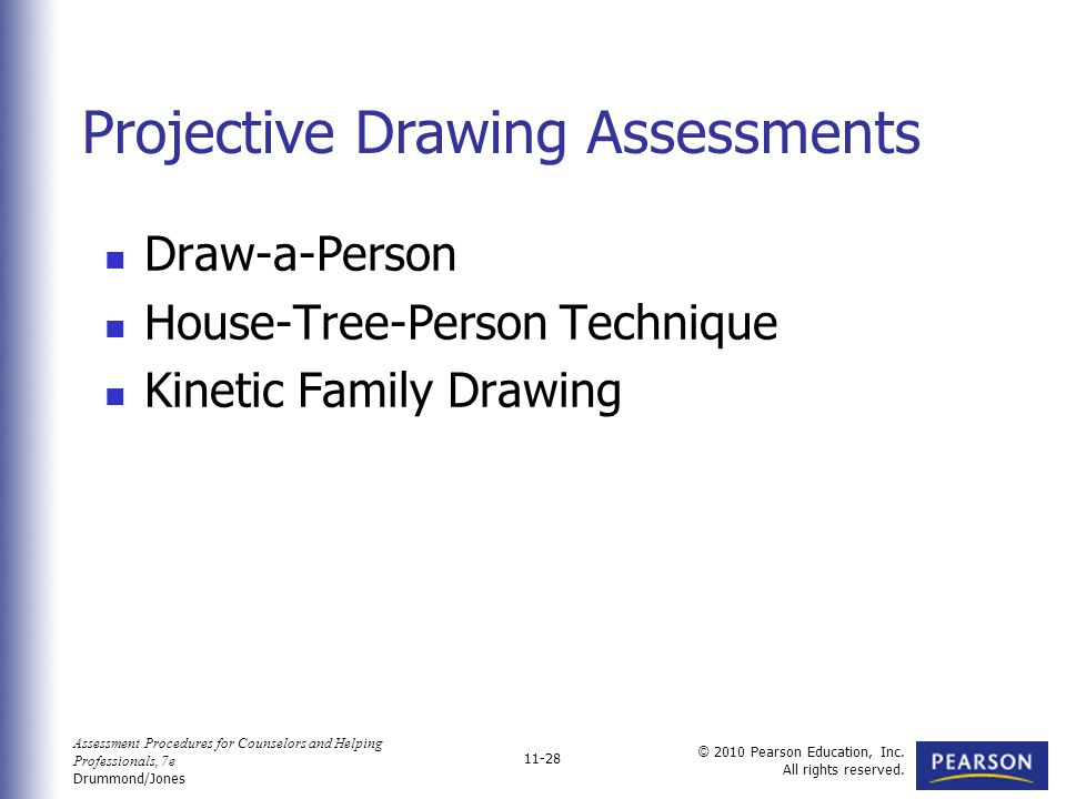 Assessment Procedures for Counselors and Helping Professionals, 7e Drummond/Jones © 2010 Pearson Education, Inc. All rights reserved. 11-28 Draw-a-Per