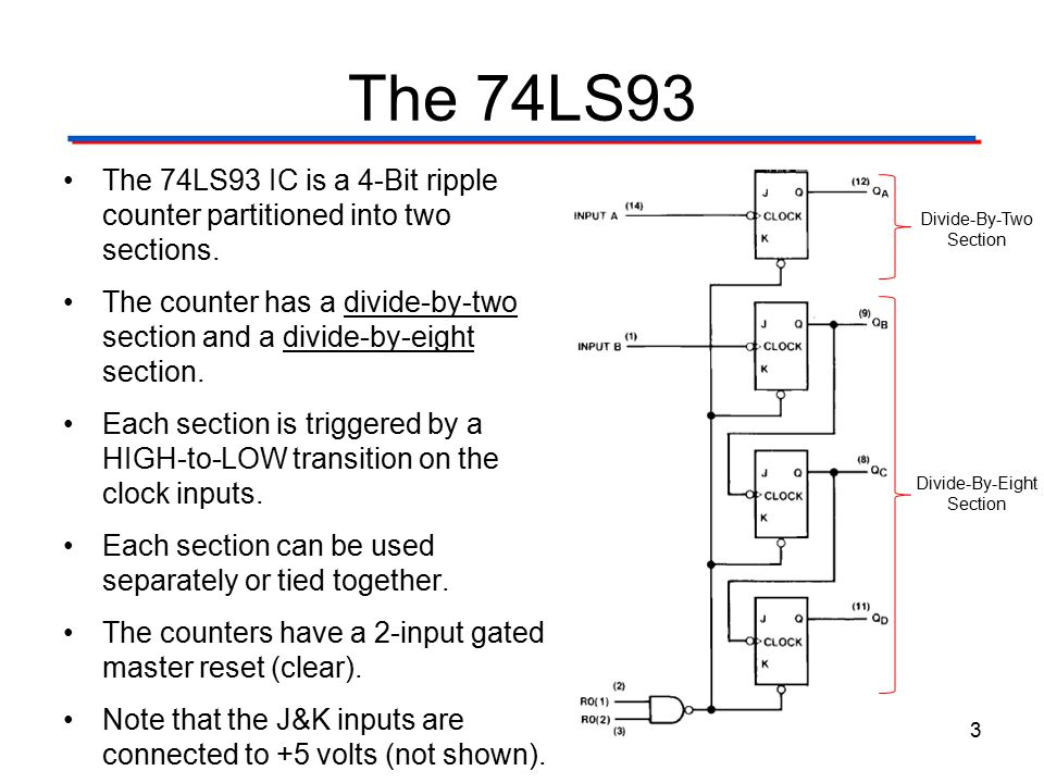 The 74LS93 – Cascaded The divide-by-two section can be used as a 1-Bit counter.