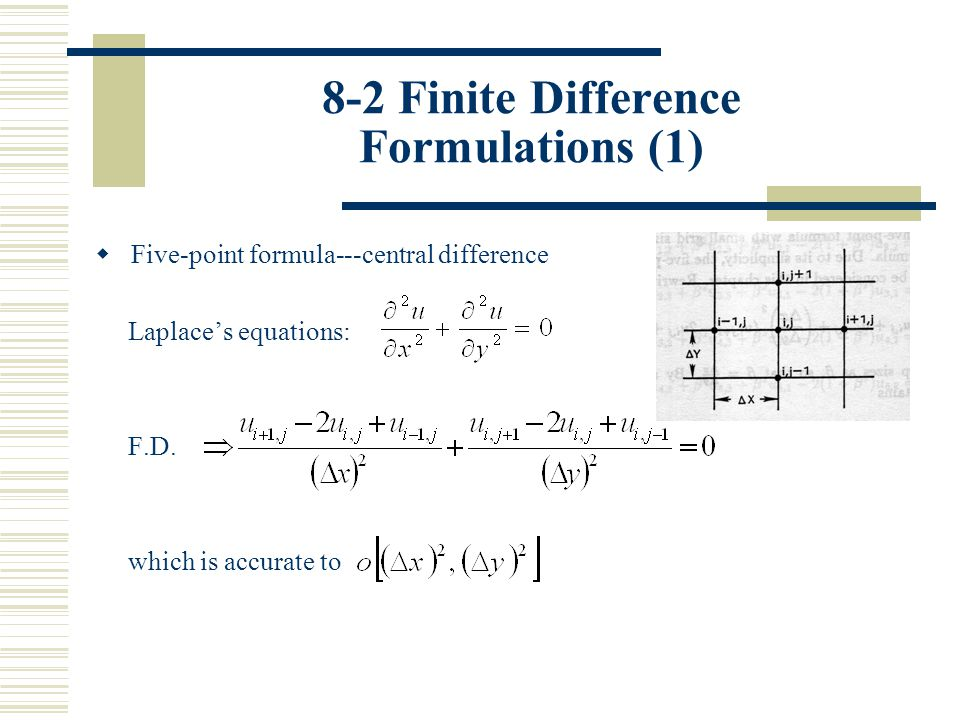 8-2 Finite Difference Formulations (12) (5) The Alternating Direction Implicit (ADI) Method: (a) An iteration cycle is considered complete once the resulting tridiagonal system is solved for all rows and then followed by columns, or vice versa.