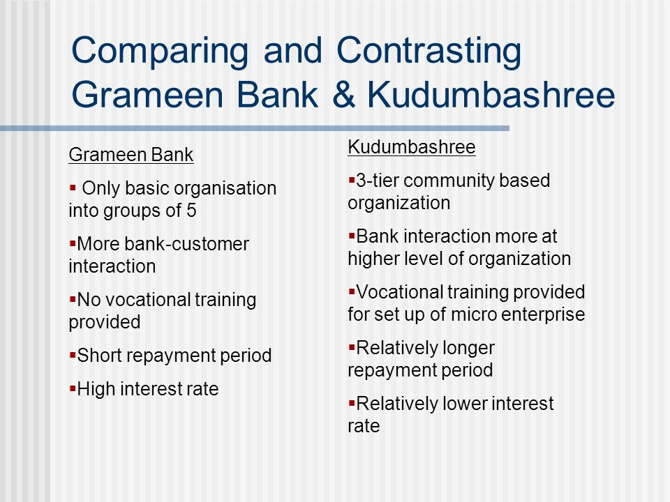 Comparing and Contrasting Grameen Bank & Kudumbashree Grameen Bank  Only basic organisation into groups of 5  More bank-customer interaction  No vocational training provided  Short repayment period  High interest rate Kudumbashree  3-tier community based organization  Bank interaction more at higher level of organization  Vocational training provided for set up of micro enterprise  Relatively longer repayment period  Relatively lower interest rate