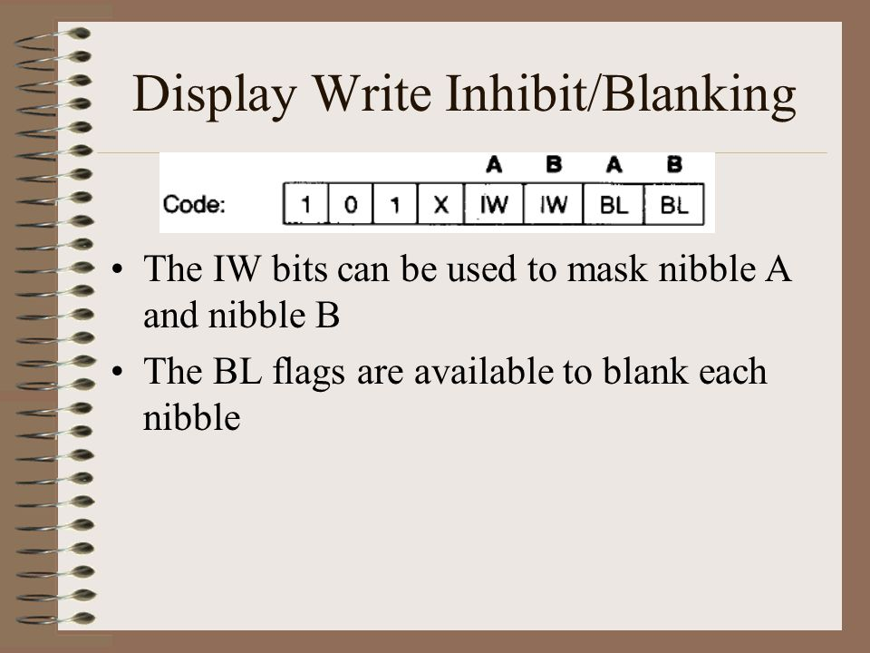 Display Write Inhibit/Blanking The IW bits can be used to mask nibble A and nibble B The BL flags are available to blank each nibble