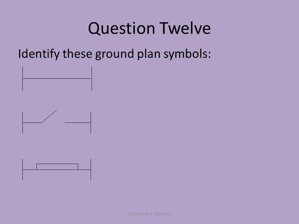 Question Twelve Identify these ground plan symbols: Created by L McCarry