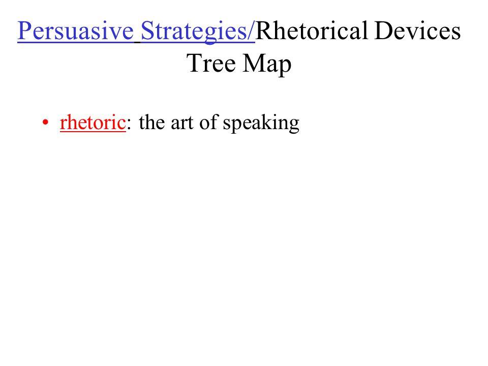 Persuasive Strategies/Rhetorical Devices Tree Map rhetoric: the art of speaking