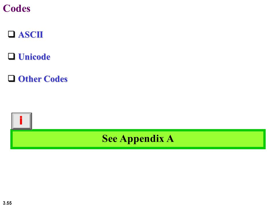 3.55 Codes  ASCII  Unicode  Other Codes See Appendix A i