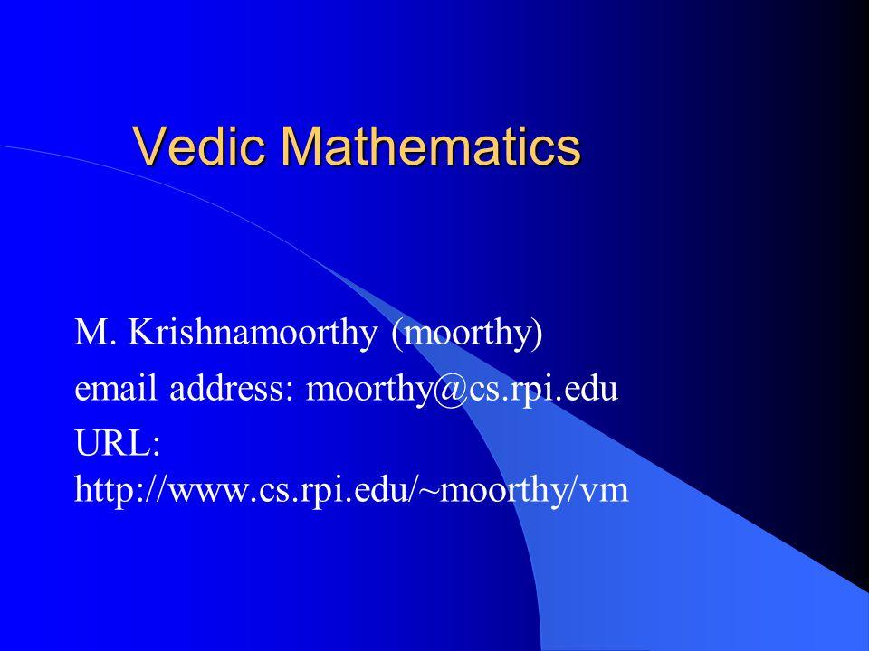 Vedic Mathematics M.