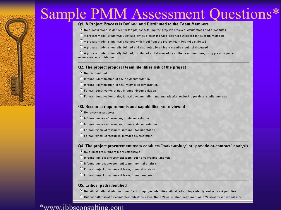 Sample PMM Assessment Questions* *www.ibbsconsulting.com