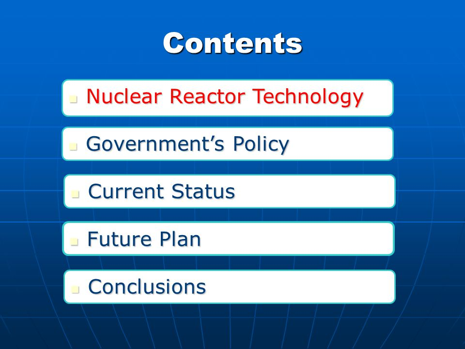 Contents Government's Policy Government's Policy Nuclear Reactor Technology Nuclear Reactor Technology Future Plan Future Plan Current Status Current Status Conclusions Conclusions