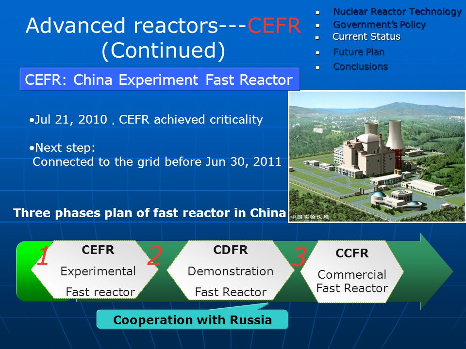 Advanced reactors---CEFR (Continued) Three phases plan of fast reactor in China CEFR: China Experiment Fast Reactor Jul 21, 2010 , CEFR achieved criticality Next step: Connected to the grid before Jun 30, 2011 CEFR Experimental Fast reactor CDFR Demonstration Fast Reactor CCFR Commercial Fast Reactor 12 3 Cooperation with Russia Government's Policy Government's Policy Current Status Current Status Nuclear Reactor Technology Nuclear Reactor Technology Future Plan Future Plan Conclusions Conclusions