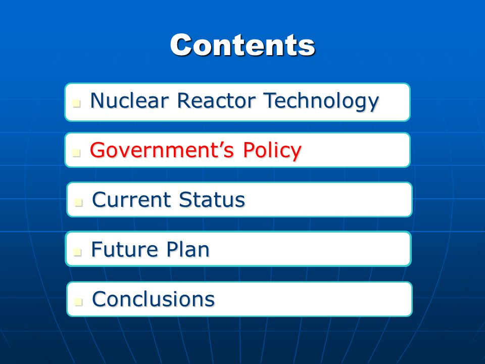 Nuclear reactor technologies in China (Continued) CANDU 6: Qinshan Phase III, supplied by Atomic Energy of Canada Limited (AECL) CANDU 6: Qinshan Phase III, supplied by Atomic Energy of Canada Limited (AECL) M310: Daya Bay, PWRs imported from France VVER: Tianwan, Russia s AES-91, Tianwan units 3 & 4 will use the same version of the VVER-1000 VVER: Tianwan, Russia s AES-91, Tianwan units 3 & 4 will use the same version of the VVER-1000 Qinshan Phase III CPR1000: China Guangdong Nuclear Power Cooperation, Lingao, Advanced CPR1000 CPR1000: China Guangdong Nuclear Power Cooperation, Lingao, Advanced CPR1000 Daya Bay Tianwan Government's Policy Government's Policy Current Status Current Status Nuclear Reactor Technology Nuclear Reactor Technology Future Plan Future Plan Conclusions Conclusions