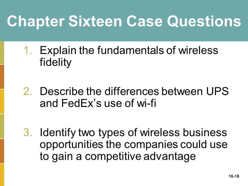 16-18 Chapter Sixteen Case Questions 1.Explain the fundamentals of wireless fidelity 2.Describe the differences between UPS and FedEx's use of wi-fi 3.Identify two types of wireless business opportunities the companies could use to gain a competitive advantage