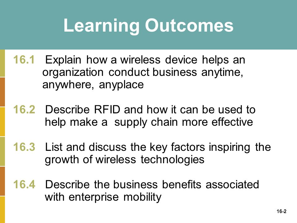 16-2 Learning Outcomes 16.1 Explain how a wireless device helps an organization conduct business anytime, anywhere, anyplace 16.2 Describe RFID and how it can be used to help make a supply chain more effective 16.3 List and discuss the key factors inspiring the growth of wireless technologies 16.4 Describe the business benefits associated with enterprise mobility