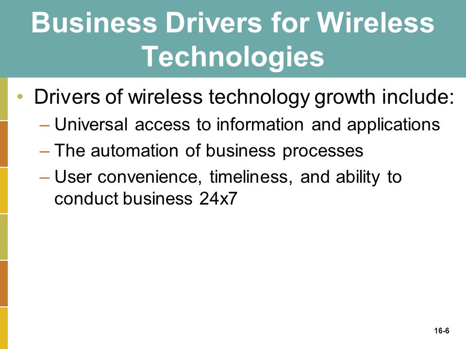 16-6 Business Drivers for Wireless Technologies Drivers of wireless technology growth include: –Universal access to information and applications –The automation of business processes –User convenience, timeliness, and ability to conduct business 24x7