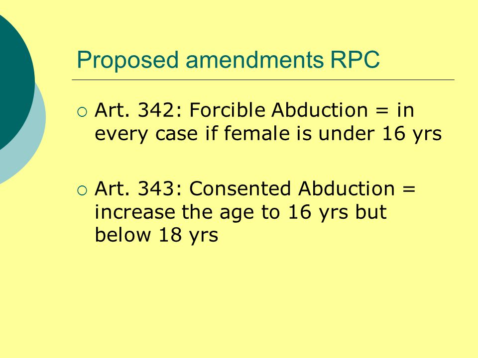Proposed amendments RPC  Art.